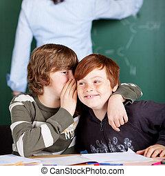 dos, niños jóvenes, compartir, secretos