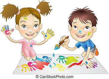 dos, niños jóvenes, juego, con, pinturas