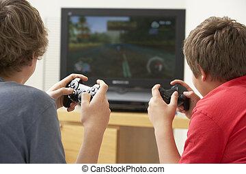 dos niños, juego, con, juego consola