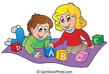 dos, niños, juego, con, ladrillos