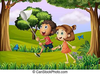 dos, niños, juego, en, el, bosque, con, un, red