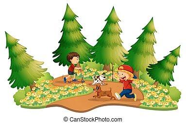 dos niños, juego, en el parque