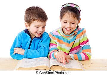 dos, niños, lectura, el, libro