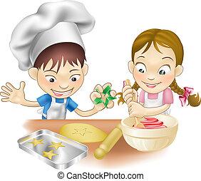 dos niños, tener diversión, en la cocina