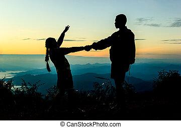 dos niños, varón y hembra, posición, contra, el, sol, salida del sol, romance