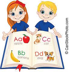 dos, niños, y, abc, libro