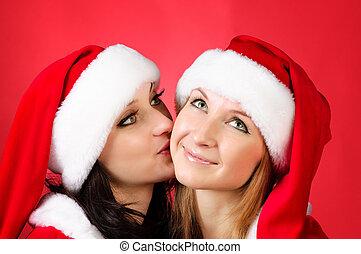 dos, novias, en, christmass, trajes