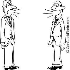 dos, o, discussion., hombres, vector, hablar., hombres de negocios, cómico, comunicación, caricatura, concepto