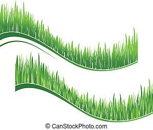 dos, ondas, de, hierba verde