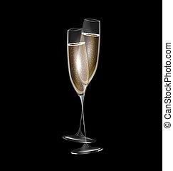 dos, oscuridad, anteojos de champán