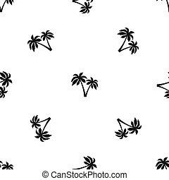dos, palmas, patrón, seamless, negro