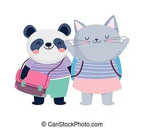 dos, panda, chat, education, sacs dos, mignon, école