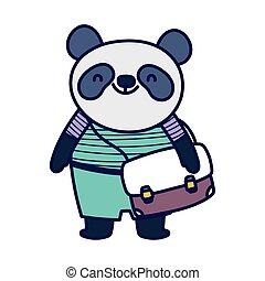 dos, panda, education, cartable, mignon, école