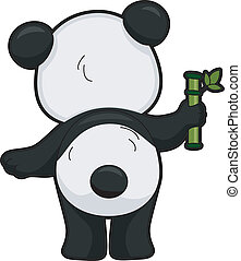 dos, panda géant, vue