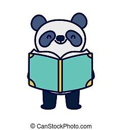 dos, panda, lecture, étudiant, education, école, mignon, livre