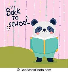 dos, panda, lecture, education, école, mignon, livre