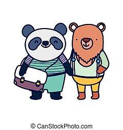 dos, panda, sac à dos, education, école, mignon, ours