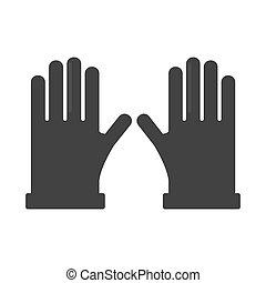 dos, par, de, guantes, negro, siluetas, aislado, blanco, plano de fondo