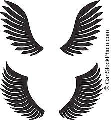 dos, par, de, negro, vector, alas, para, su, diseño