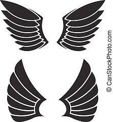 dos, par, de, vector, alas, para, su, design.