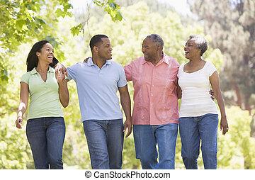 dos parejas, ambulante, aire libre, brazo en brazo, sonriente