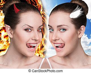 dos, parte de, hermoso, woman.demon, y, angel.
