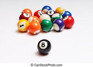 dos, pelotas, multicolor, snooker
