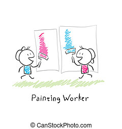 dos personas, pintura, rollers., illustration.