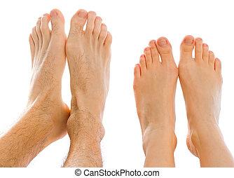 dos, pies, juntos