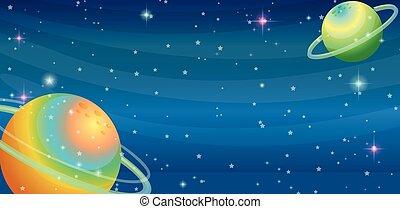 dos, planetas, escena, espacio