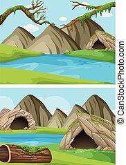 dos, plano de fondo, escenas, con, montañas, y, ríos