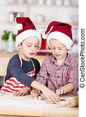 dos, poco, hermanos, corte, afuera, galletas navidad