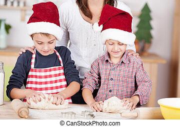 dos, poco, niños, aprendizaje, para cocer al horno, navidad, galletas