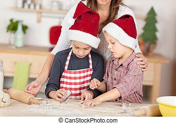 dos, poco, niños, preparando, galletas, para, navidad