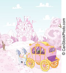 dos, princesse, royaume, voiture