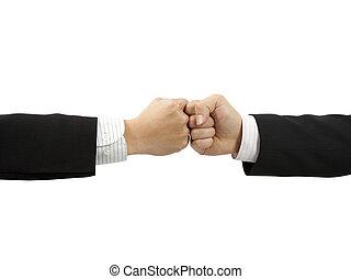 dos, puños, de, hombre de negocios, mano