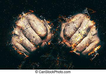 dos, puños, en, llama, fuego, illustration.