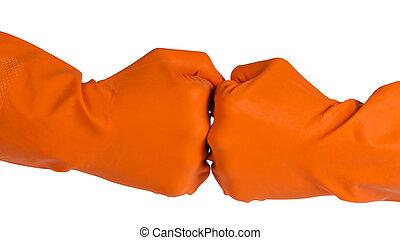 dos, puños, en, naranja, guantes