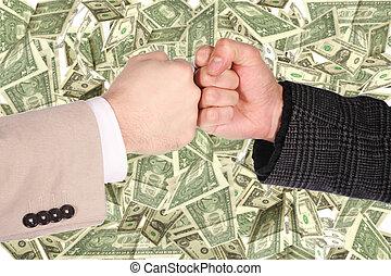 dos, puños, gesto, en, dólar, plano de fondo, collage