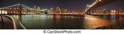 dos, puentes, con, brooklyn, uno, por, noche, nueva york, panorama