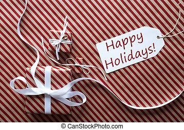 dos, regalos, con, etiqueta, texto, feliz, vacaciones