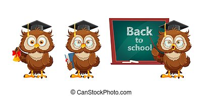 dos, rigolote, owl., concept, école, mignon, sage, hibou