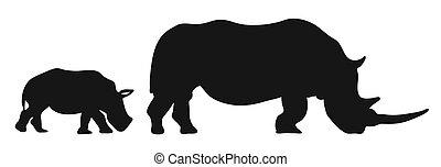 dos, rinocerontes, siluetas
