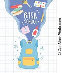 dos, sac à dos, livres, colle, voler, ciseaux, école, education, dessin animé