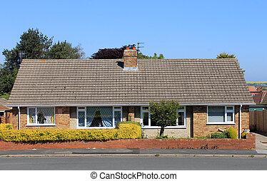 dos, semidetached, inglés, bungalow, casas, en, estate.