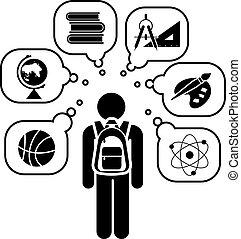 dos, set., icône, school., pictogramme