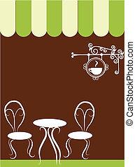 dos, sillas, y, tabla, en, un, tienda de café