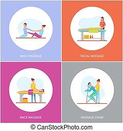 dos, spécial, facial, chaise, dessin animé, masage