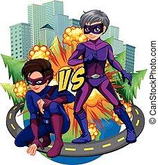 dos, superheroes, en la ciudad