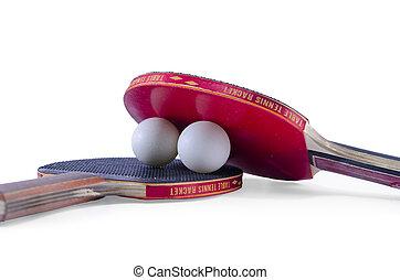 dos, tenis de mesa, raquetas, y, un, pelota, aislado